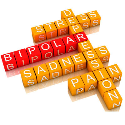 Bipolar disorder stress depression sadness pain wordpuzzle